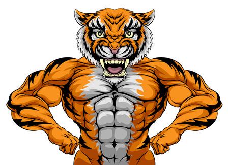 Ilustración de A tiger animal sports mascot showing off his huge muscles - Imagen libre de derechos
