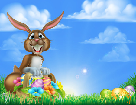 Illustration pour Cartoon Easter scene. Easter bunny with a basket full of decorated chocolate Easter eggs on an Easter egg hunt in a field - image libre de droit