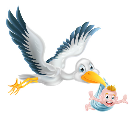 Illustration for A happy cartoon stork bird animal character flying through the air holding a newborn baby. Classic myth of stork bird delivering a new born baby - Royalty Free Image