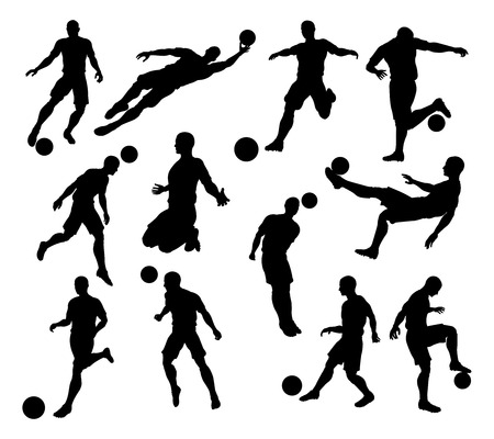 Illustration pour A set of Silhouette Soccer Players in lots of different poses - image libre de droit