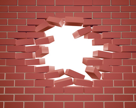 Illustration for Breaking through a brick wall with a hole - Royalty Free Image