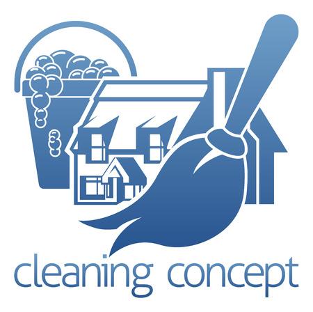 Ilustración de A home cleaning concept icon with a house mop or duster and soap bucket - Imagen libre de derechos