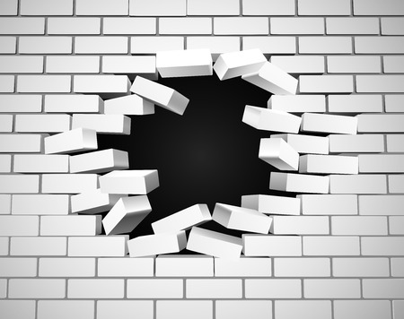 Illustration for A white wall being smashed or breaking apart - Royalty Free Image