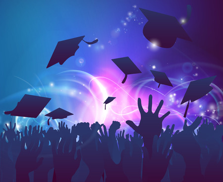 Illustration pour Graduation convocation crowd concept of student hands in silhouette throwing their mortar board caps celebrating with abstract background - image libre de droit