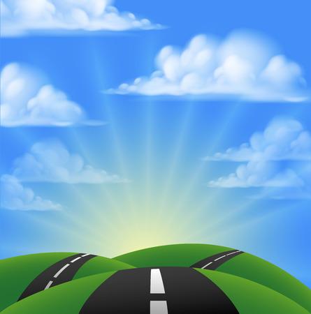 Illustration pour Cartoon road going over hills into the sunset or sunrise - image libre de droit
