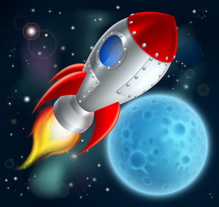 Illustration pour An illustration of a cartoon space rocket ship or space ship flying through space with a moon or planet in the background - image libre de droit