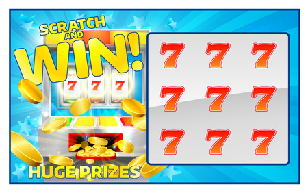 Illustration for A slot machine lottery instant scratch and win scratchcard - Royalty Free Image