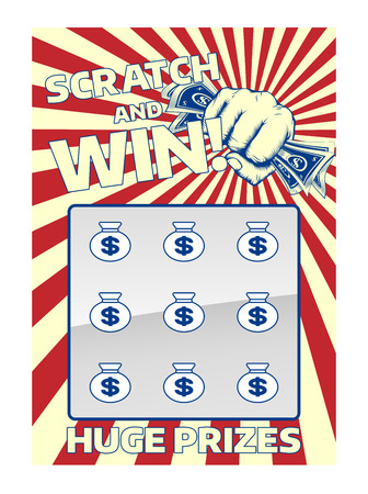 Illustration for A lottery instant scratch and win scratchcard featuring a fist holding cash - Royalty Free Image