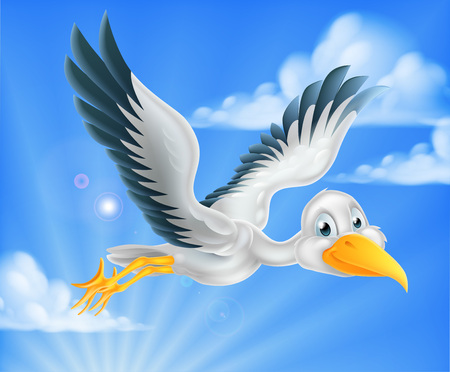 Illustration pour A happy cartoon stork bird animal character flying through the sky - image libre de droit
