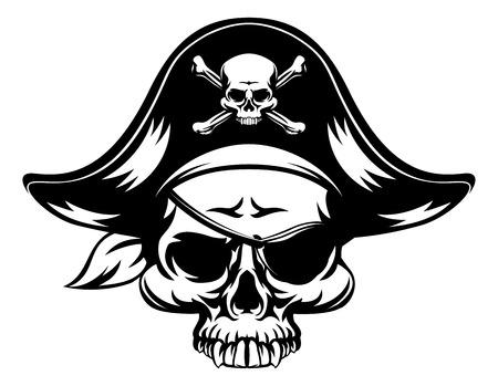 Illustration pour A pirate Skull wearing a tri corn captains hat and an eye patch - image libre de droit