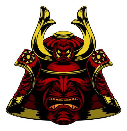 Illustration pour A scary red Samurai Mask Helmet - image libre de droit