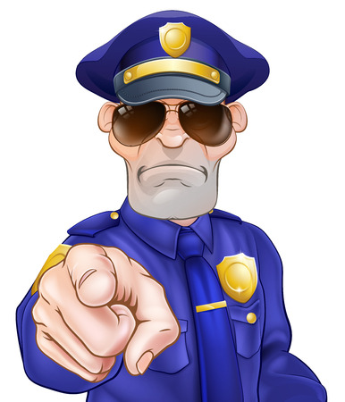 Illustration for Serious cartoon police officer policeman in sunglasses pointing - Royalty Free Image