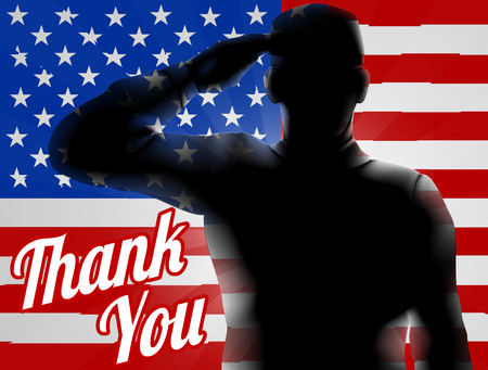 Foto per A silhouette soldier saluting with American Flag in the background with Thank You, design for Memorial Day or Veterans Day - Immagine Royalty Free