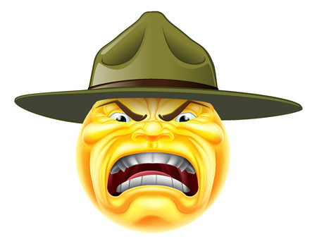Illustration for A cartoon angry emoji emoticon army boot camp drill sergeant shouting - Royalty Free Image