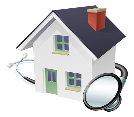 Ilustración de House and stethoscope concept of a house with a stethoscope wrapped around it - Imagen libre de derechos