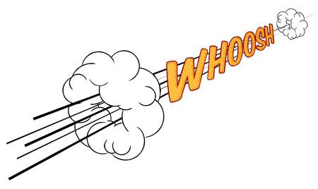 A cartoon comic book sonic boom whoosh fast sound effect design element graphic