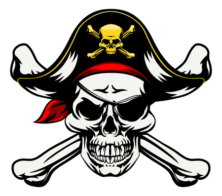 Illustration pour A skull and crossbones dressed in pirate costume with hat and eye patch - image libre de droit