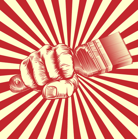Illustration for An original design of a fist holding a paintbrush in vintage propaganda poster wood cut style - Royalty Free Image