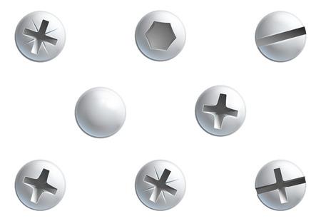 Illustration pour A set of screw,nuts,  bolt and rivet head design elements - image libre de droit