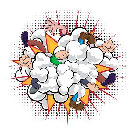 Illustration pour A cartoon comic book style fight dust cloud with people fighting with just fists, hands and legs visible - image libre de droit