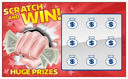 Illustration for A lottery instant scratch and win scratchcard with a fist hand holding cash money - Royalty Free Image