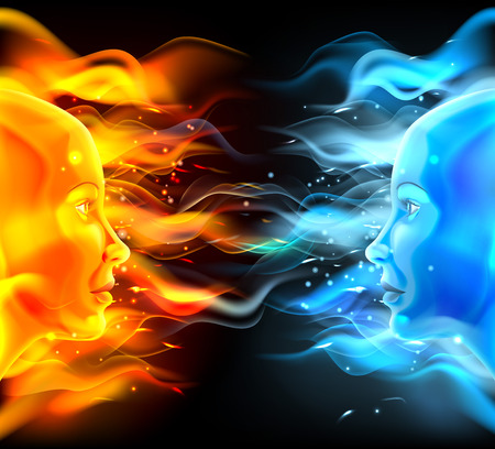 Illustration pour Opposites faces concept of two faces with fire or flames one hot orange and one cold blue. Could be a concept for the sun and moon, hot and cold, summer and winter, passion and logic or similar. - image libre de droit