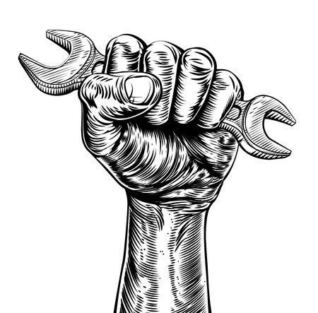 Illustration pour A vintage etched woodcut style fist holding a spanner or wrench tool - image libre de droit