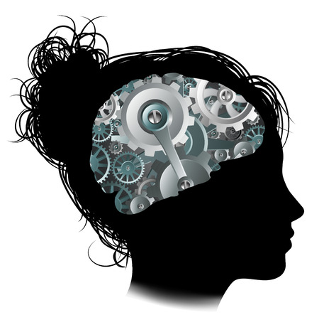 Illustration for Silhouette of a woman with a brain made up of gears or cogs workings machine parts - Royalty Free Image