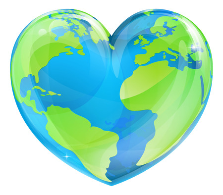 Ilustración de An Earth world globe in a heart shape, could be a concept for world Earth Day - Imagen libre de derechos
