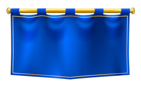 Illustration for A medieval style blue banner flag suspended on a gold pole - Royalty Free Image
