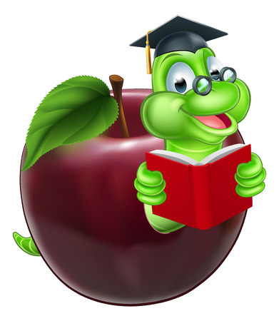 Illustration for A happy cute cartoon caterpillar bookworm worm or caterpillar reading a book and coming out of an apple and wearing glasses and mortar board graduation hat - Royalty Free Image