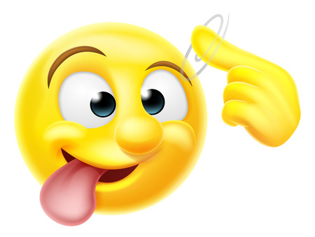 Illustration for A happy emoji emoticon smiley face character pointing at his or her head making a screw loose gesture - Royalty Free Image