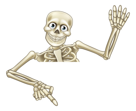 Illustration for A skeleton Halloween cartoon character peeking over a sign and pointing at it and waving his hand - Royalty Free Image
