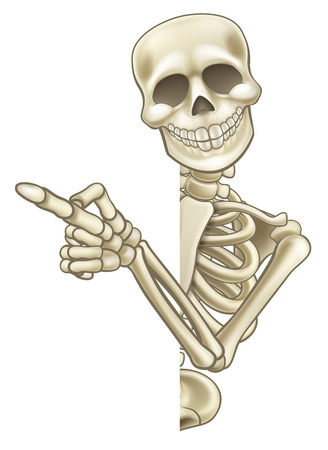 Illustration pour A skeleton cartoon character peeping around the side of a sign and pointing at it - image libre de droit