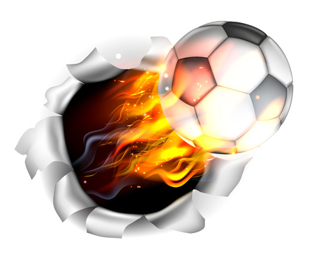 Illustration pour An illustration of a burning flaming Soccer Football ball on fire tearing a hole in the background - image libre de droit
