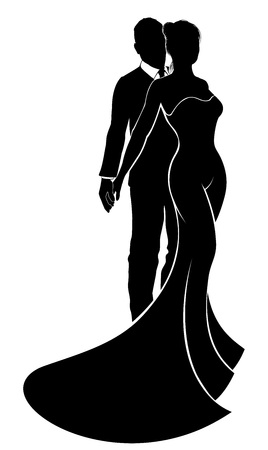 Illustration pour Bride and groom wedding couple in silhouette with the bride in a bridal wedding dress gown - image libre de droit