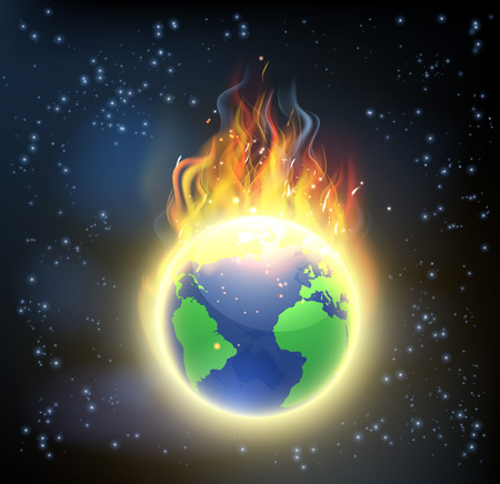 Ilustración de The earth world globe on fire, concept for climate change, global warming, or other disasters - Imagen libre de derechos