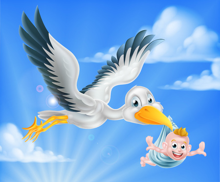 Illustration for Cartoon stork bird animal character flying through the sky holding a newborn baby. Classic myth of stork bird delivering a new born baby - Royalty Free Image