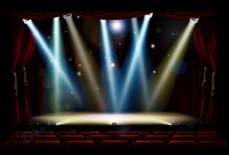 Ilustración de A theatre or theater stage and audience seating with footlights, spotlights and red curtains - Imagen libre de derechos