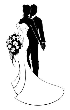 Foto de Wedding concept of bride and groom couple in silhouette, the bride in a white bridal dress gown holding a floral wedding bouquet of flowers - Imagen libre de derechos