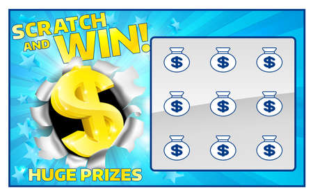 Illustration for A lottery instant scratch and win scratchcard - Royalty Free Image