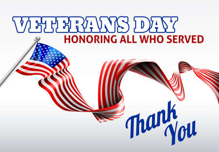 Illustration for A Veterans Day American flag ribbon background design - Royalty Free Image