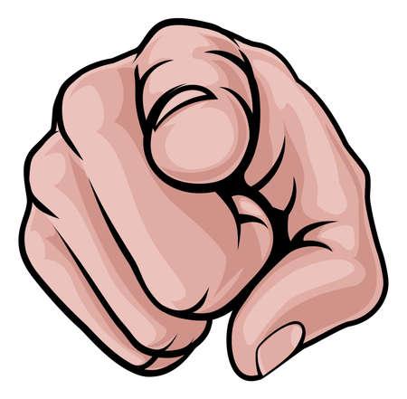 Illustration pour A cartoon hand pointing finger knuckles front on - image libre de droit