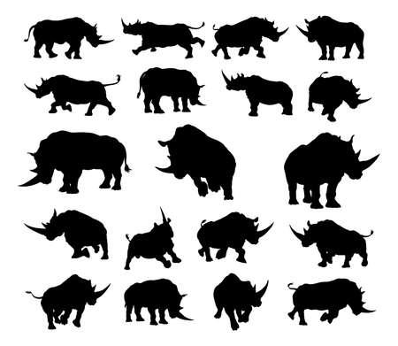 Ilustración de A set of rhino or rhinoceros animal Silhouettes - Imagen libre de derechos