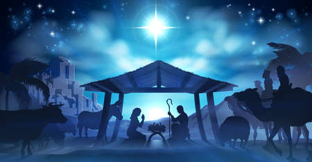 Illustration for Christmas Nativity Scene of baby Jesus in the manger with Mary and Joseph in silhouette surrounded by the animals and wise men with the city of Bethlehem in the distance with - Royalty Free Image