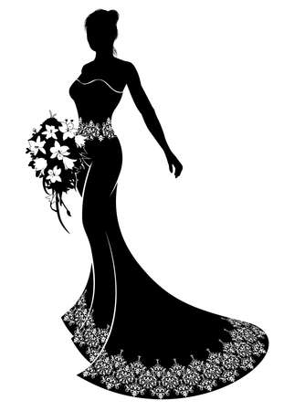 Illustration pour Bride silhouette wedding illustration, the bride in a bridal dress gown with abstract floral pattern holding a bouquet of wedding flowers - image libre de droit