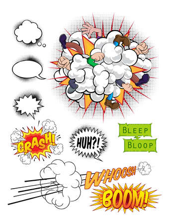 Illustration for Comic book pop art graphic design elements, speech bubbles and sound effects - Royalty Free Image