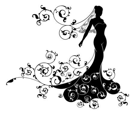Illustration pour A bride silhouette wedding design with the bride in bridal dress gown and veil with an abstract floral pattern concept design - image libre de droit