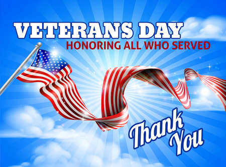 Illustration for A Veterans Day American flag in the sky ribbon background design - Royalty Free Image
