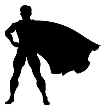 Illustration for A comic book superhero silhouette with cape flying in the wind - Royalty Free Image